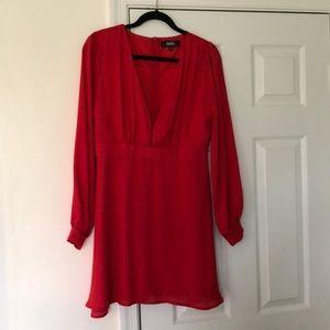 Deep V Red Dress